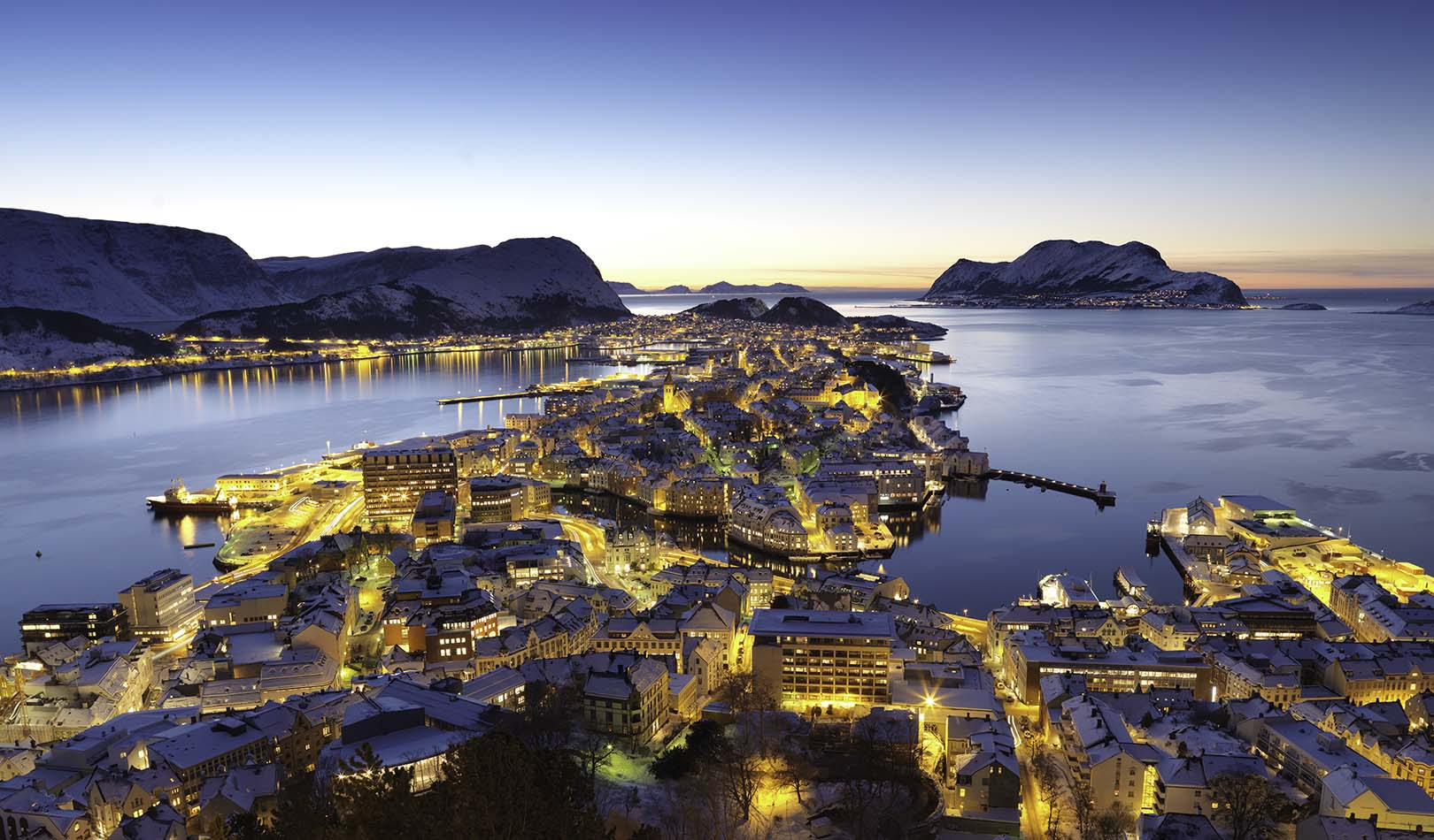 View over Ålesund in the evening.