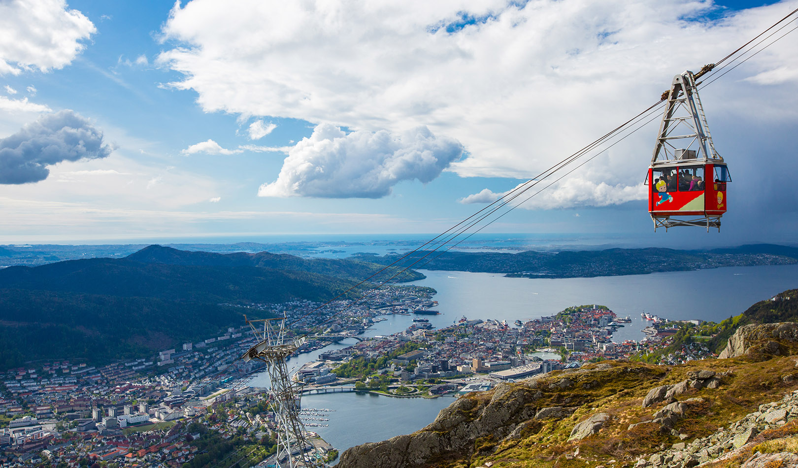 Cableway to the mountain Ulriken with great view over Bergen.