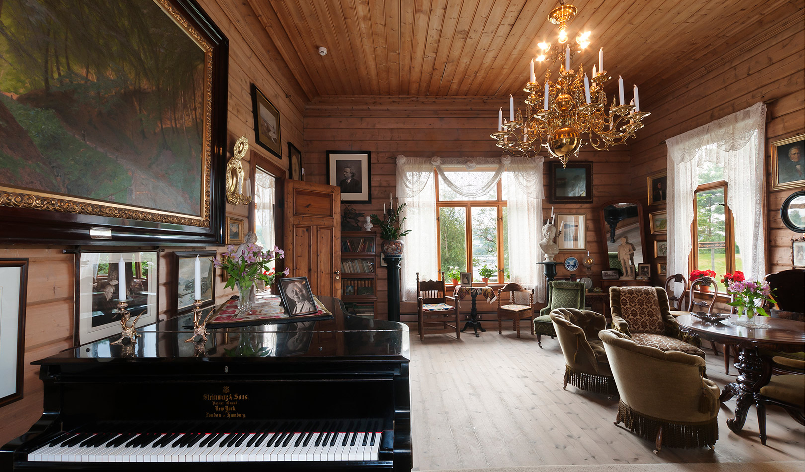 Interior at Troldhaugen, the home of the composer Edvard Grieg.