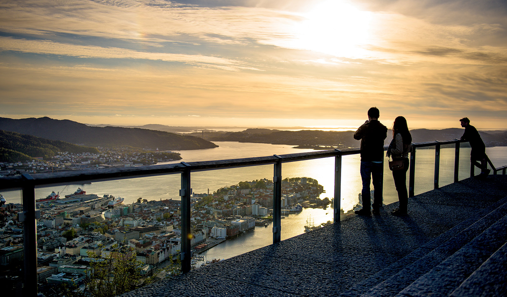 View from the city hill Fløyen in Bergen.