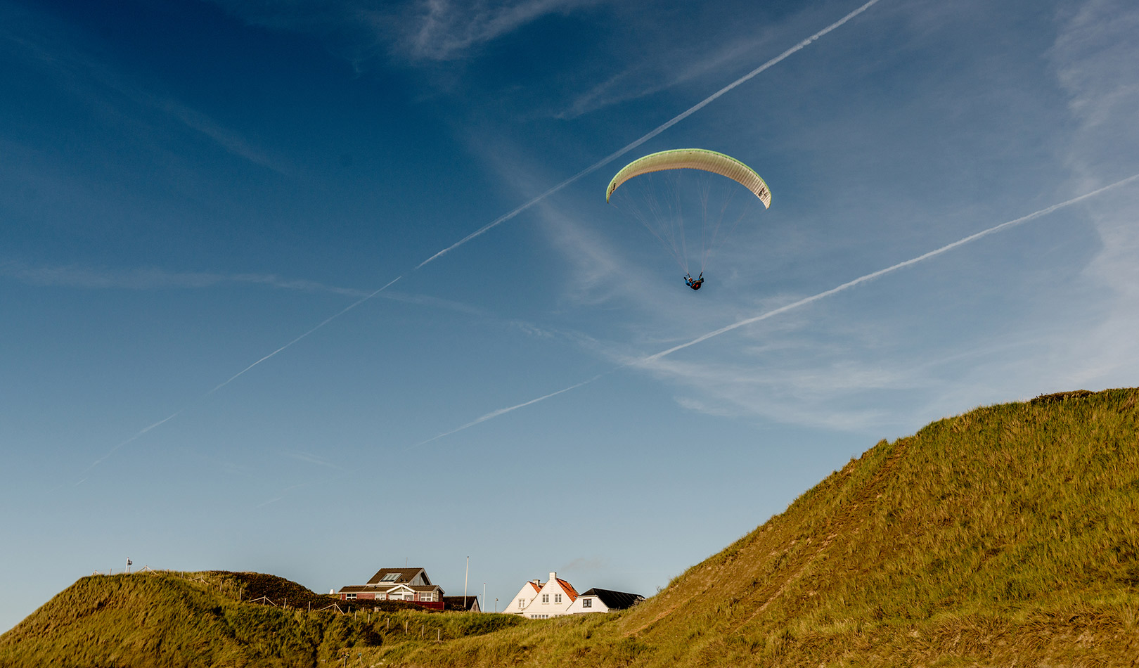 Paragliding in the landscape of Jutland, Denmark.