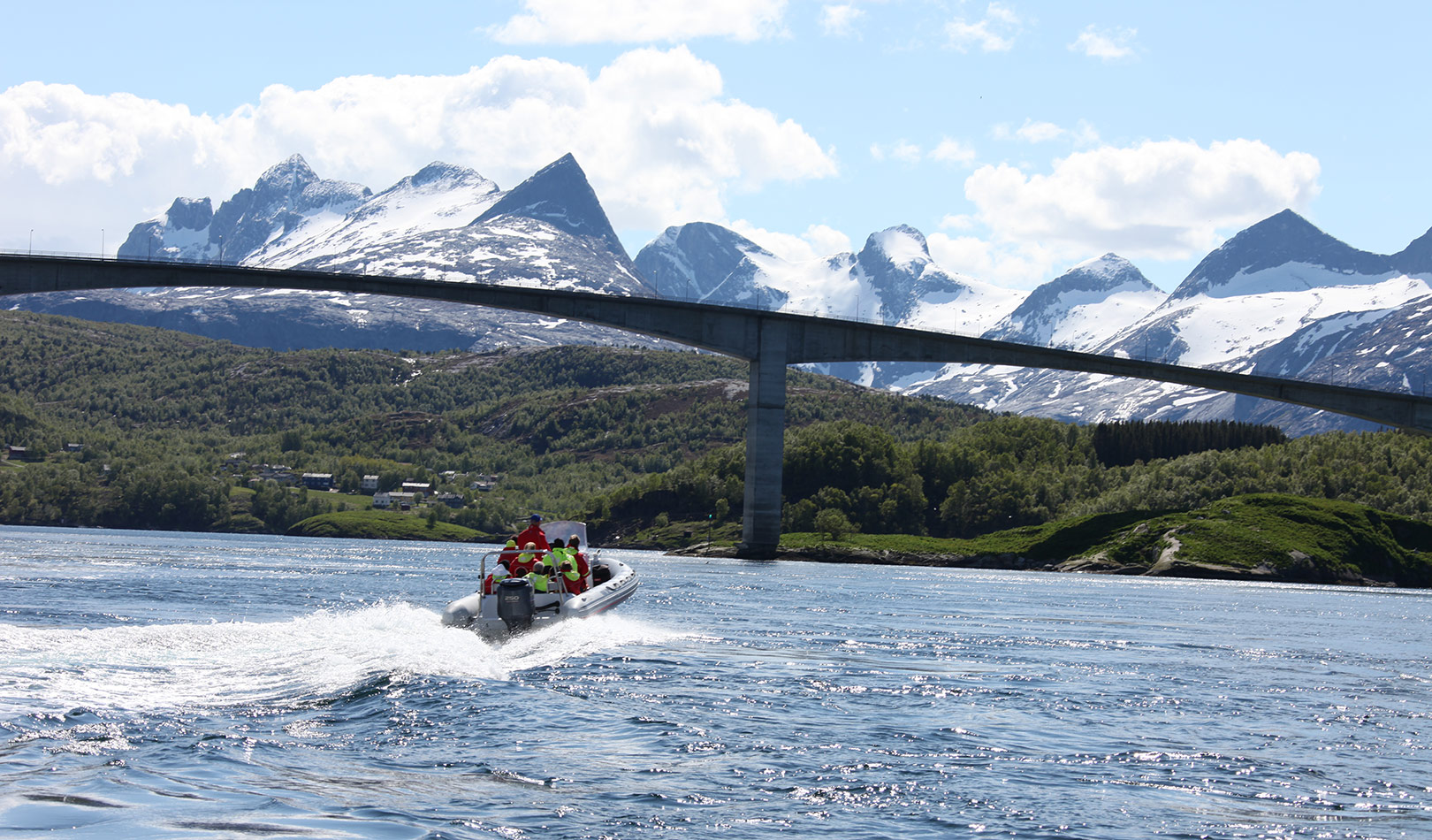 RIB tour by the bridge of the maelstrom Saltstraumen outside Bodø.