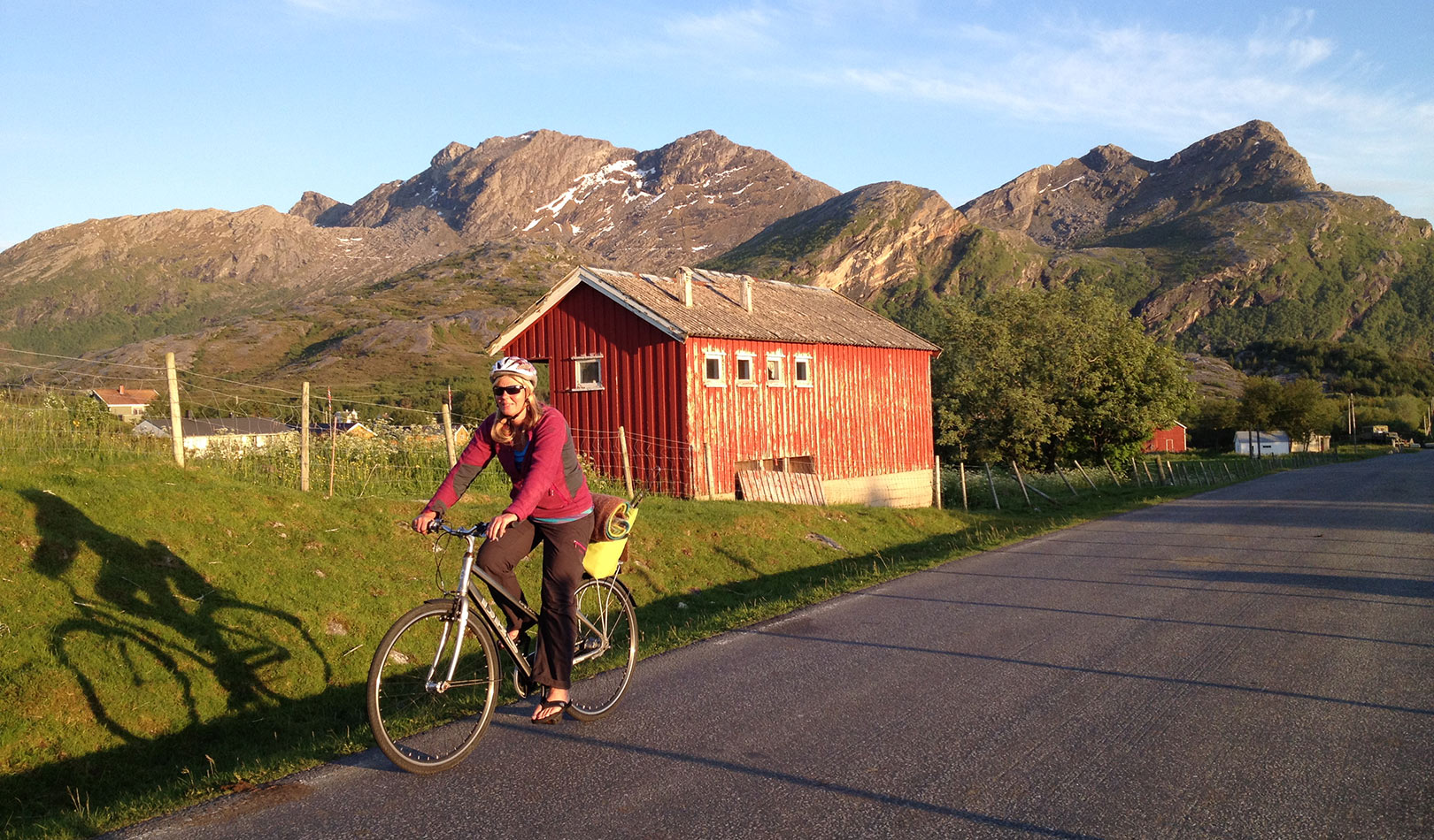 Woman on a bike on Kjerringøy outside Bodø.