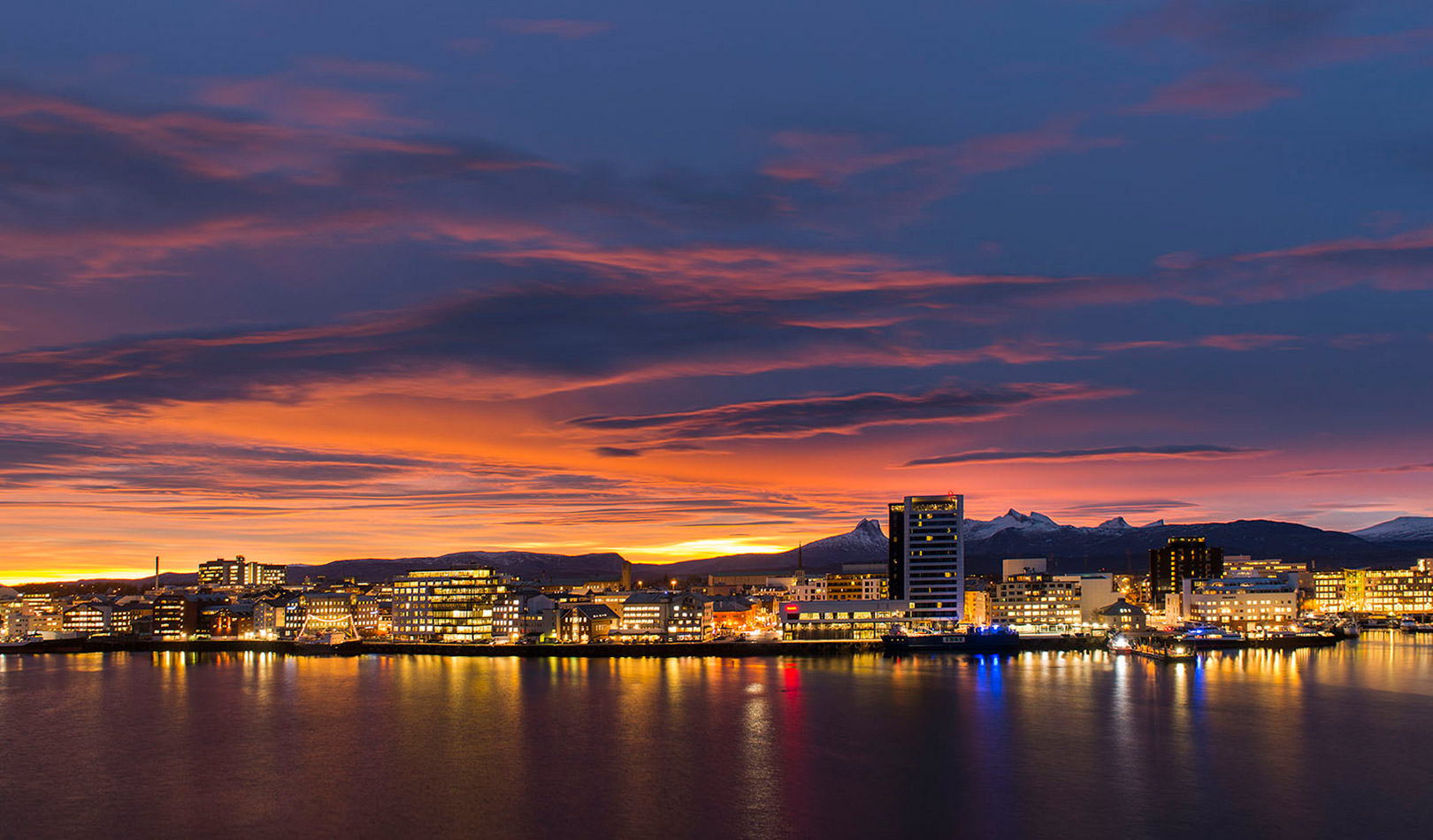 Bodø skyline in sunset
