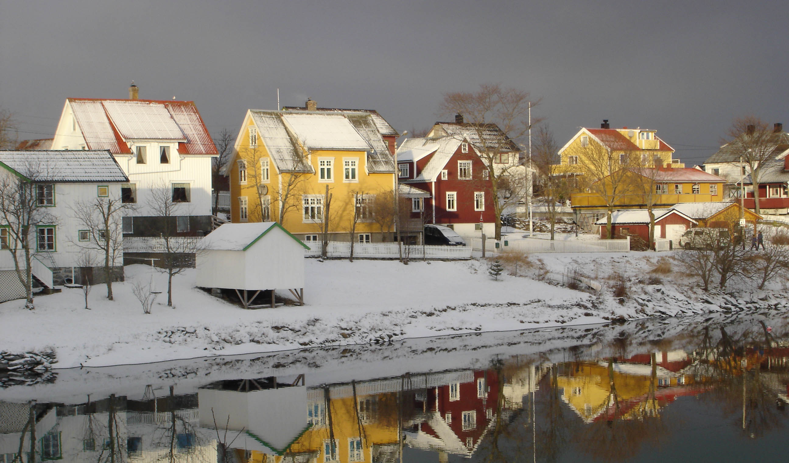 Colorful houses in the small town of Brønnøy at winter..