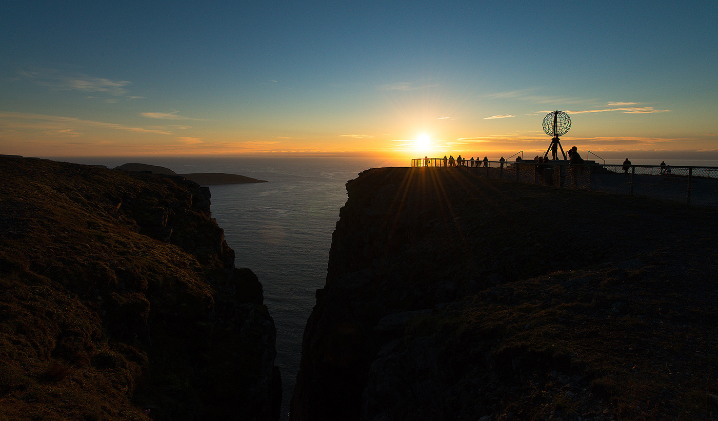 Midnight sun from the North Cape of Europe, located on the island Magerøya, Finnmark.