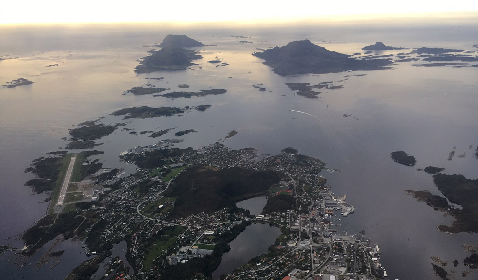 Florø photographed from an airplane.