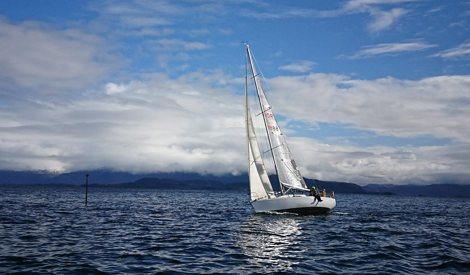 Sail boat on the ocean.