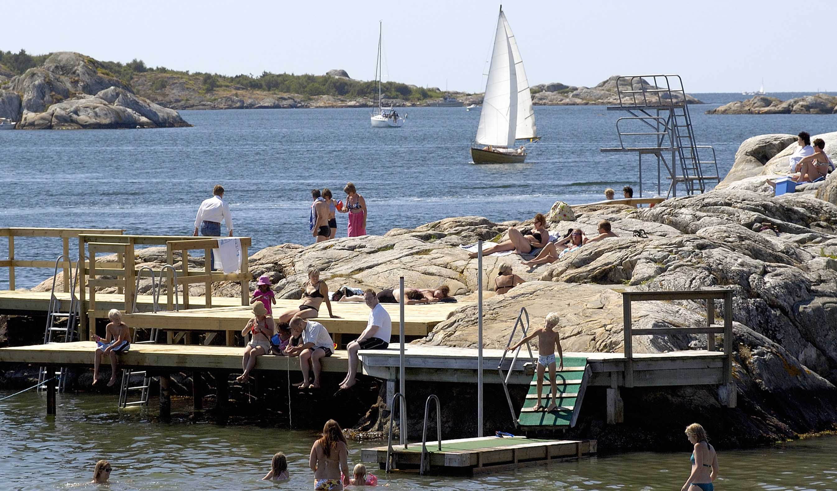 Bathing on an island within easy reach from the city Gothenburg.