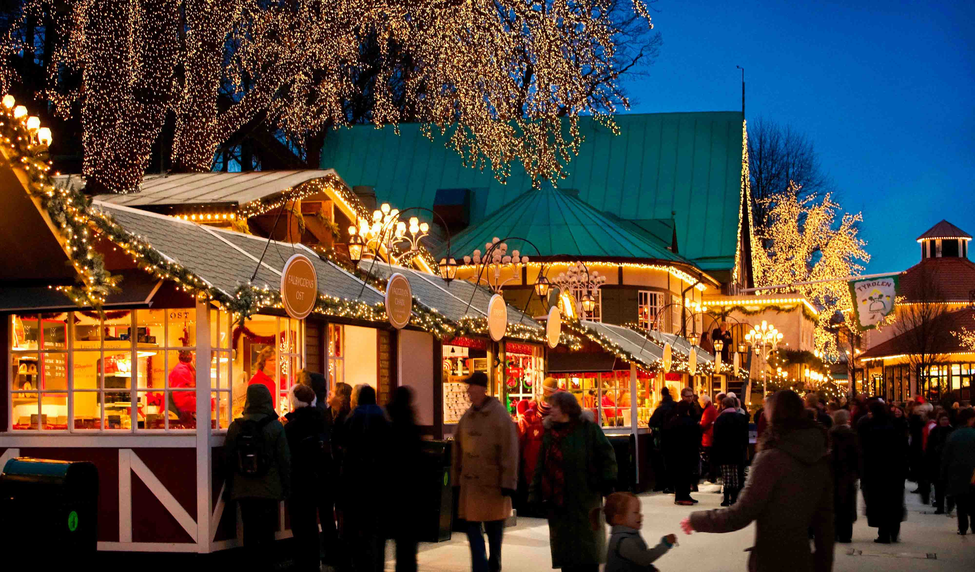 Christmas market in the adventure and family park Liseberg, Gothenburg.