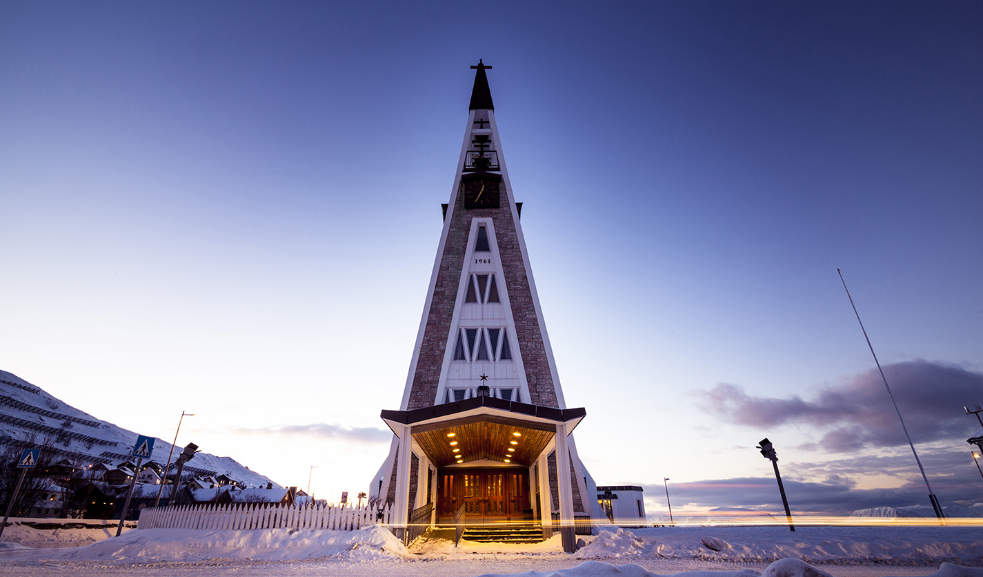 Hammerfest church at sunset.