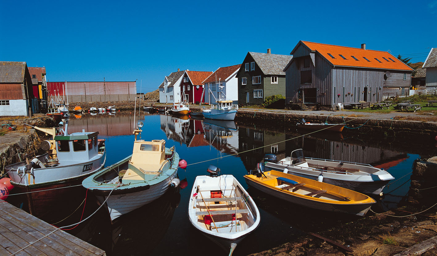 Boats and docks on the remote island of Utsira
