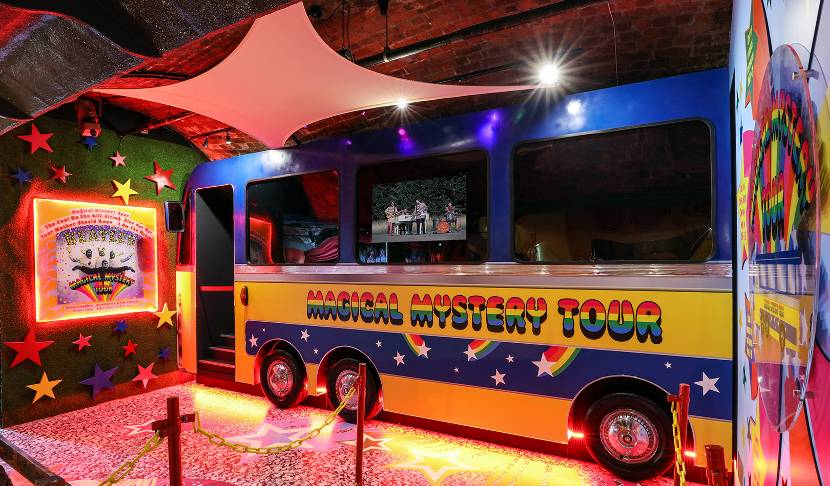 Beatles bus from the Magical Mystery Tour, The Beatles Story Liverpool.