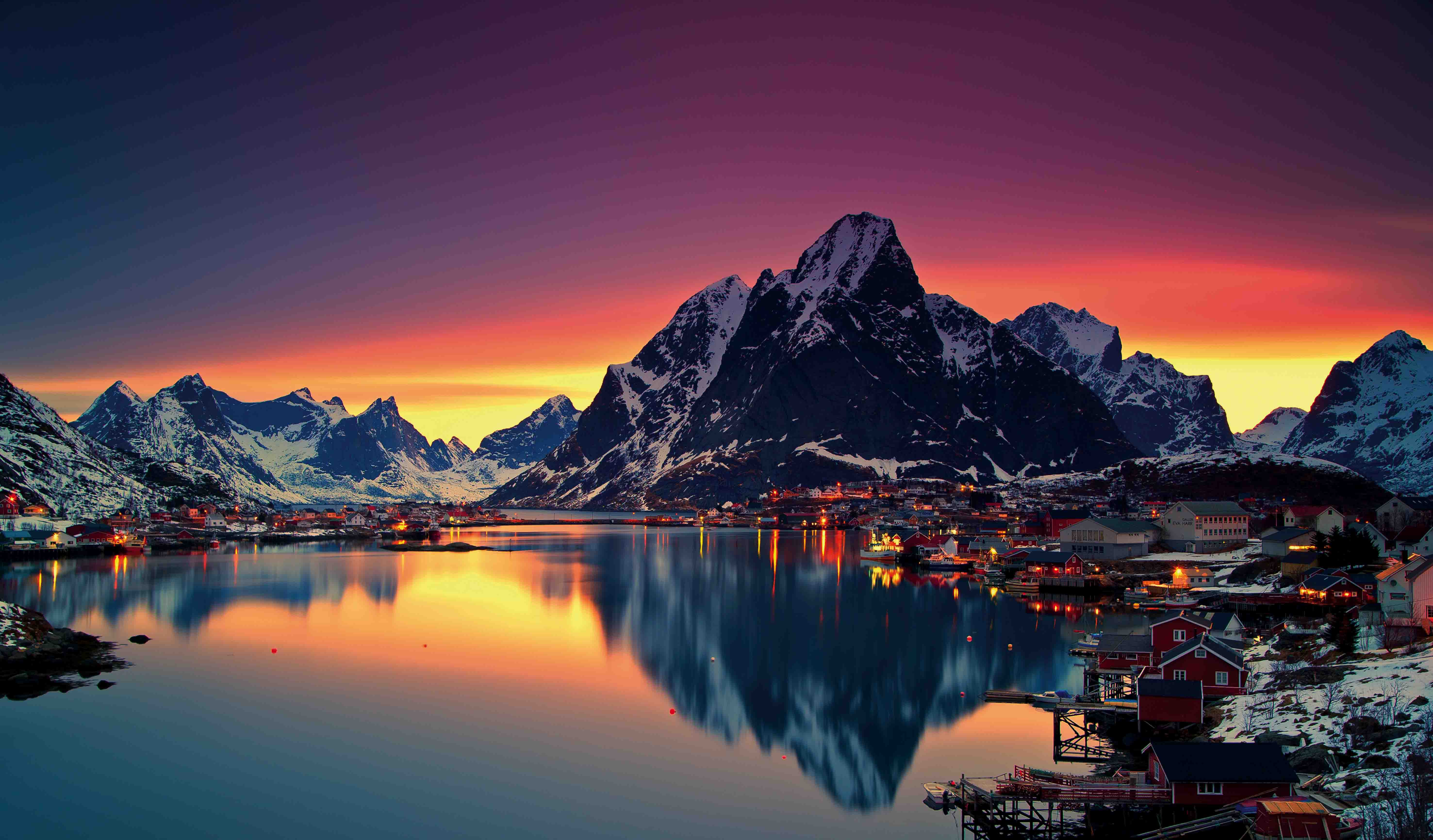 Sunset at wintertime in Moskenes, Lofoten.