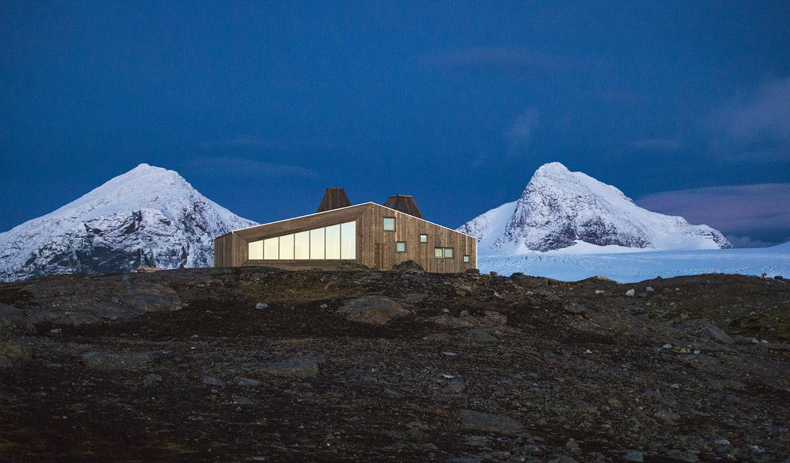 The Rabot tourist cabin was designed by architects and built for the Norwegian Trekking Association
