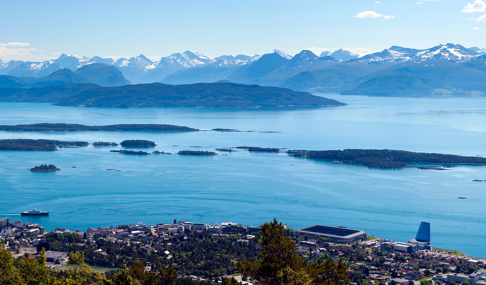 Panoramic view of the city of Molde from the city hill Varden, Møre og Romsdal.