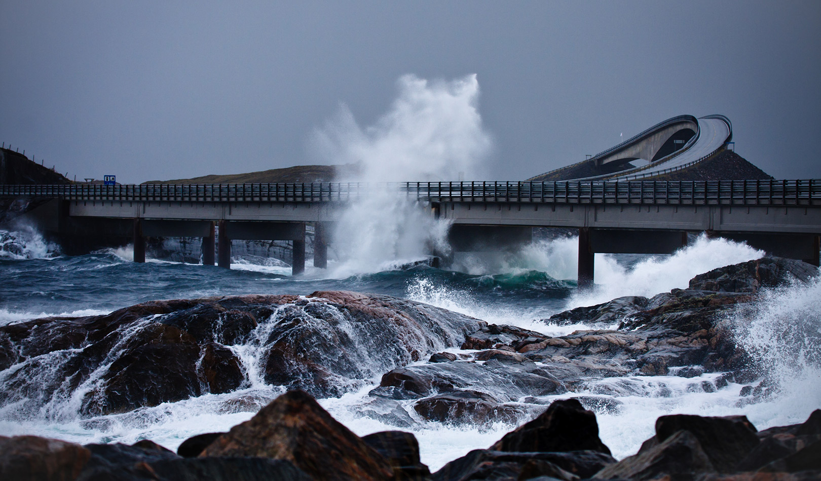 Stormy weather by the Atlantic Road, Møre og Romsdal.