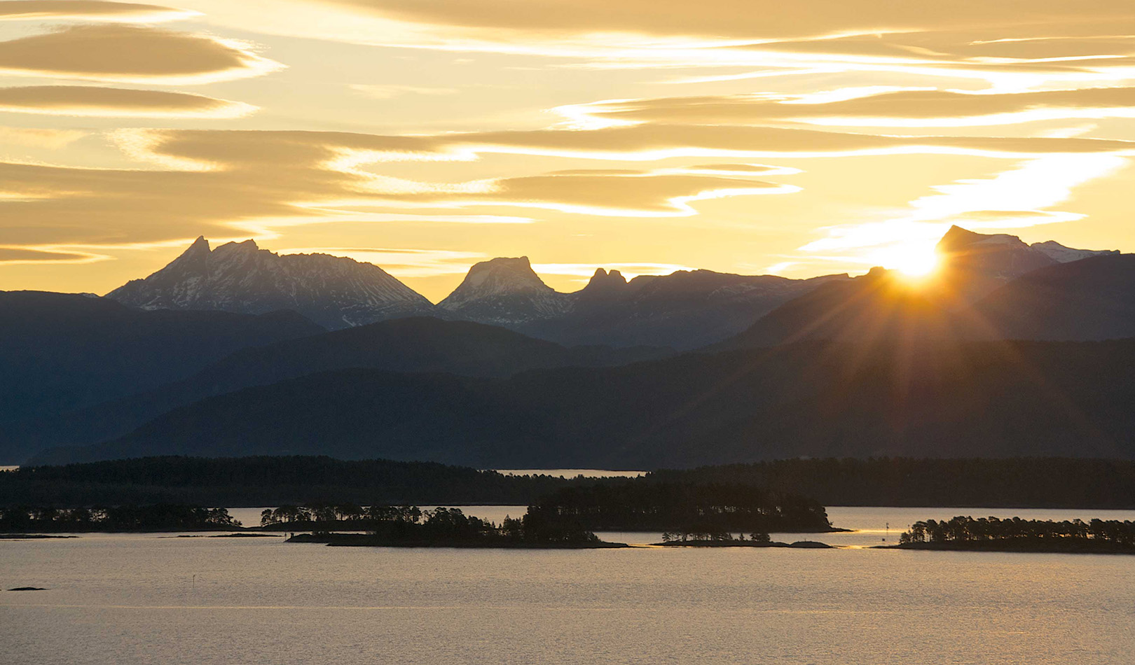 The mighty mountains of Romsdal seen from Molde.