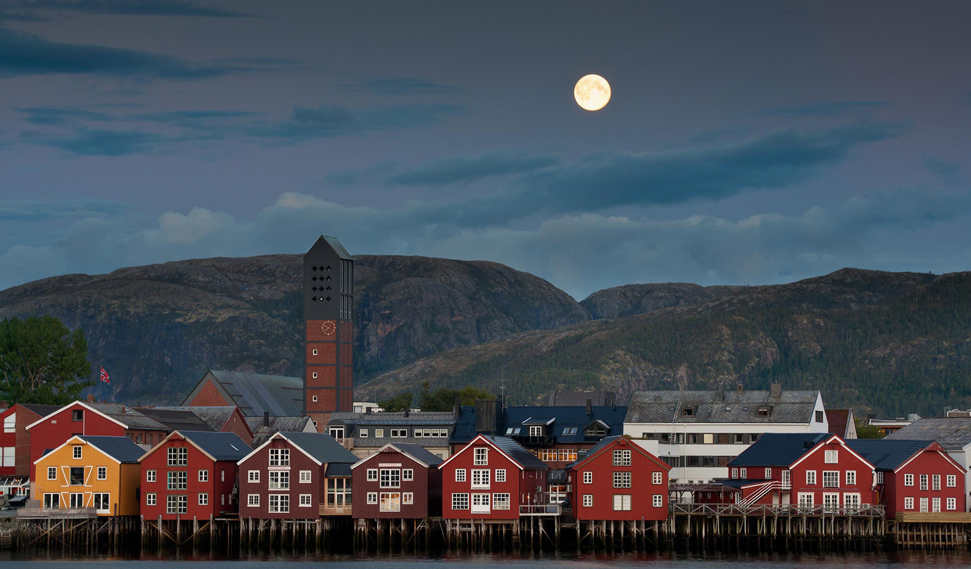 The moon shines on the docks of Namsos.