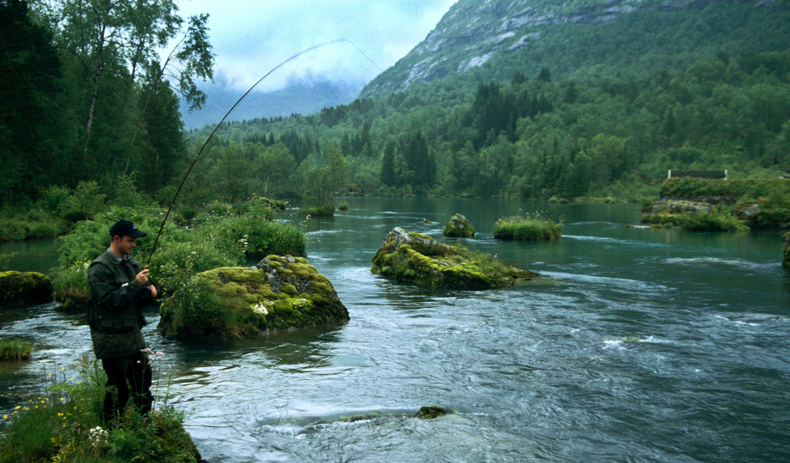 Fishing in a river in Gloppen, Sandane.