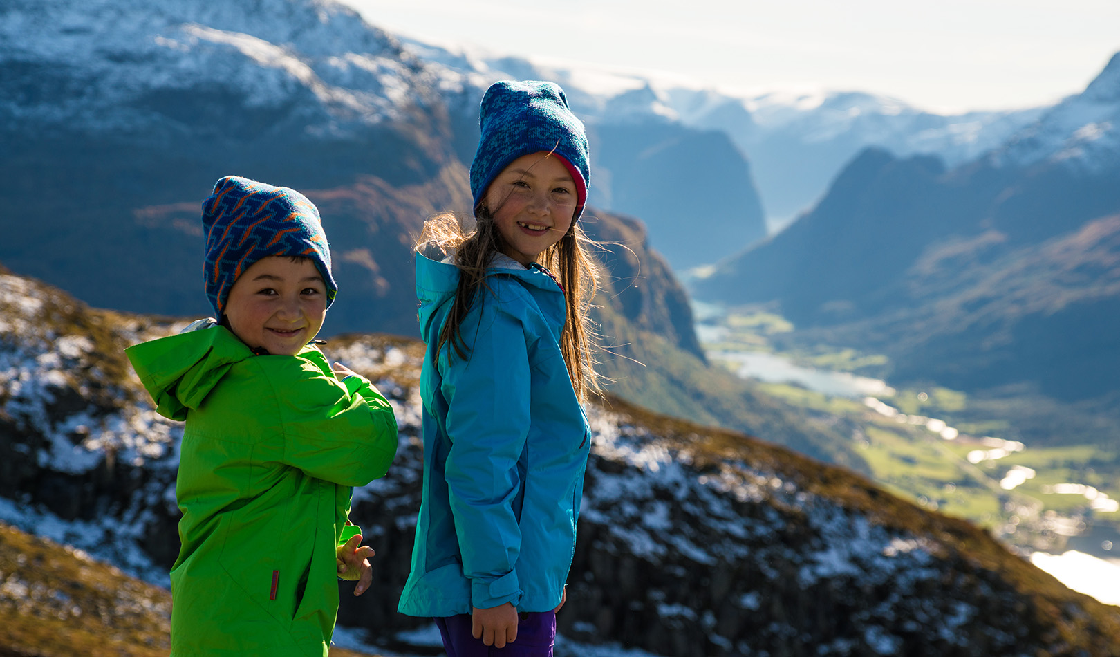 Two children on top of the mountain Hoven, Loen, Stryn.