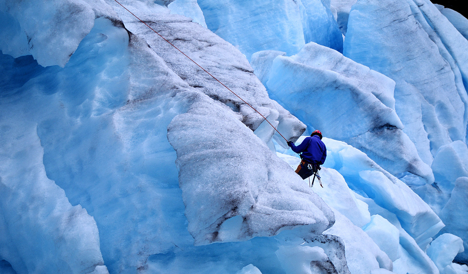 Mountainclimber on the Jostedal glacier.