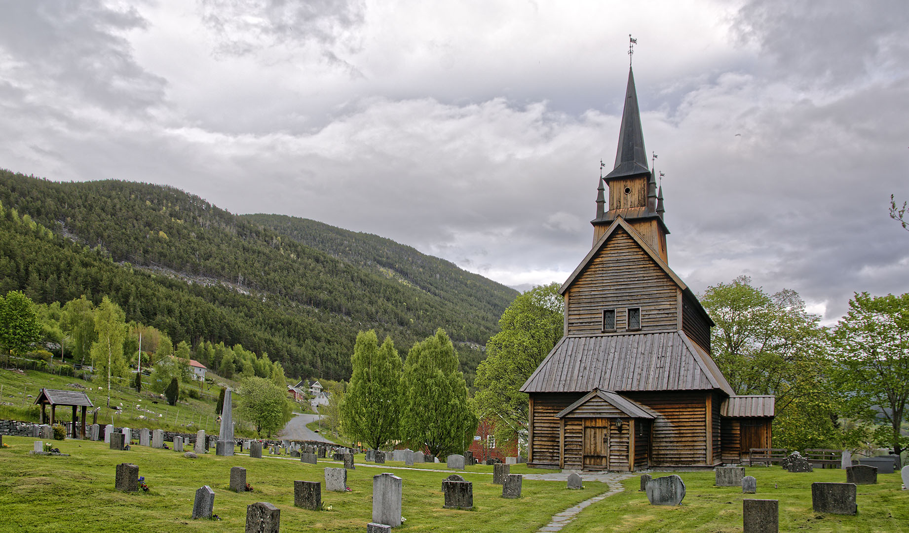 Kaupanger Stave Church and graveyard, Sogndal.