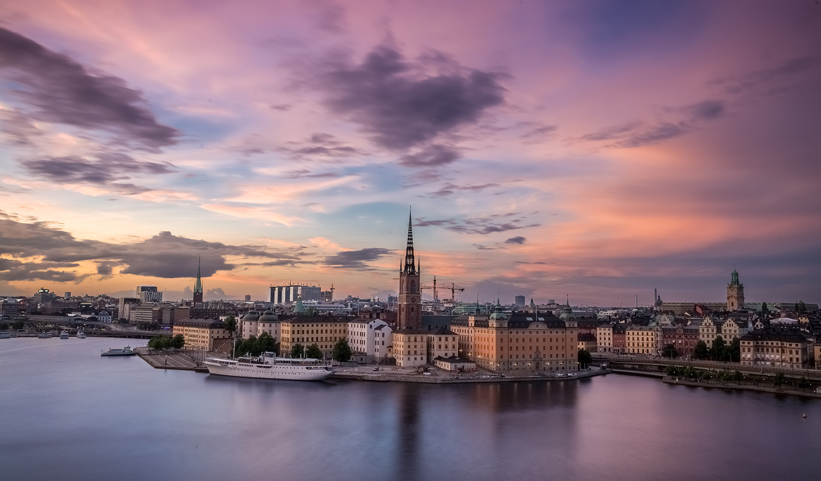 Fly to Stockholm and the beautiful harbour in sunset