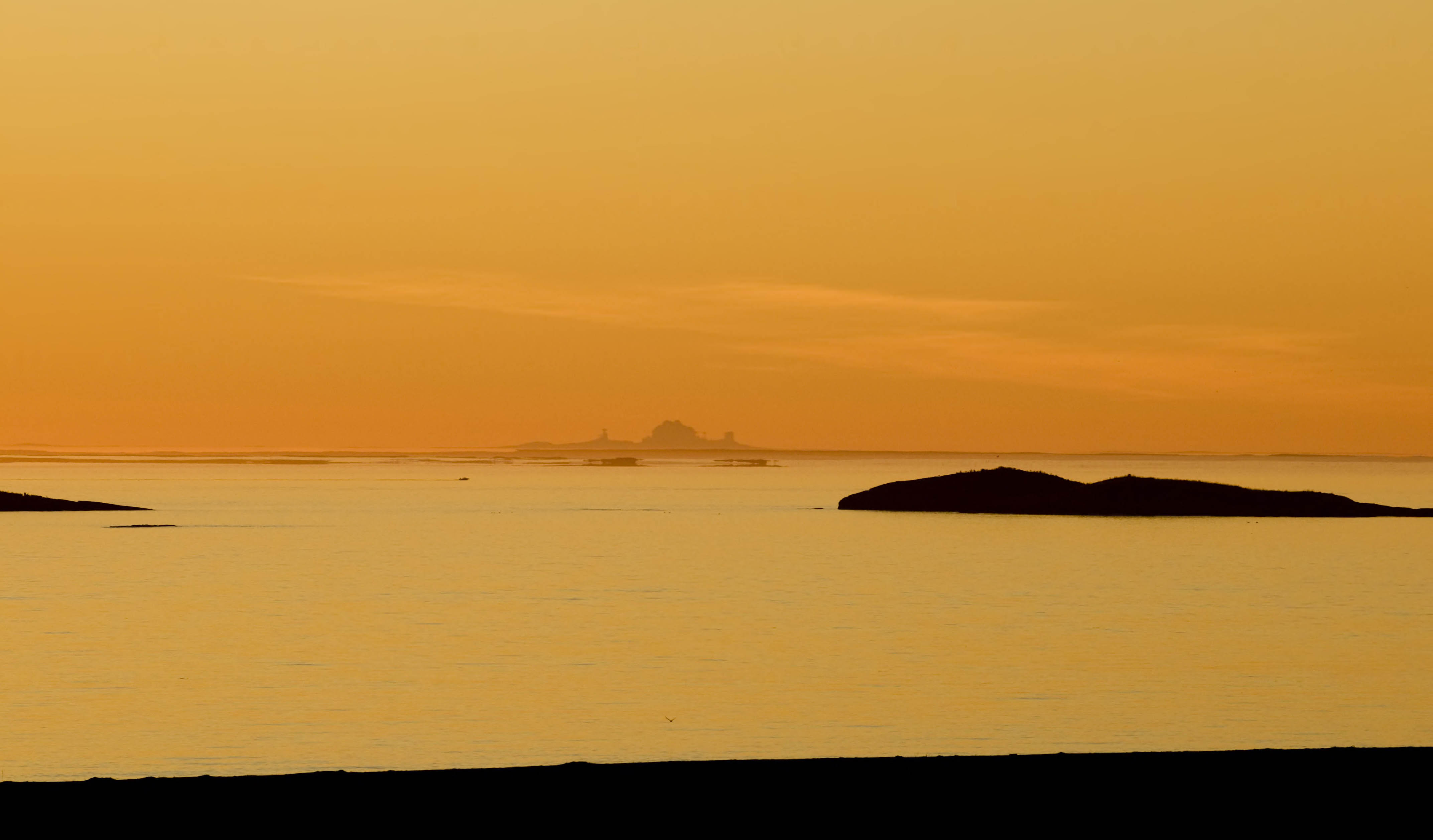 The light from the midnight sun colours the landscape and ocean in Lofoten.