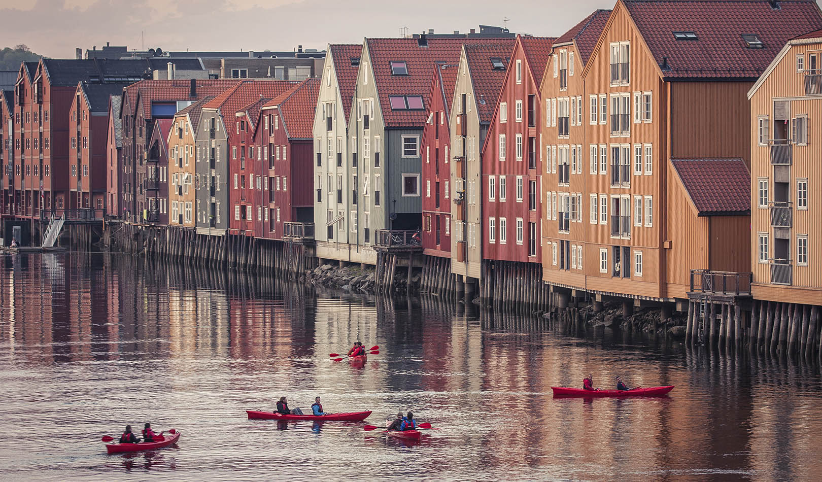Old buildings along the river in Trondheim.