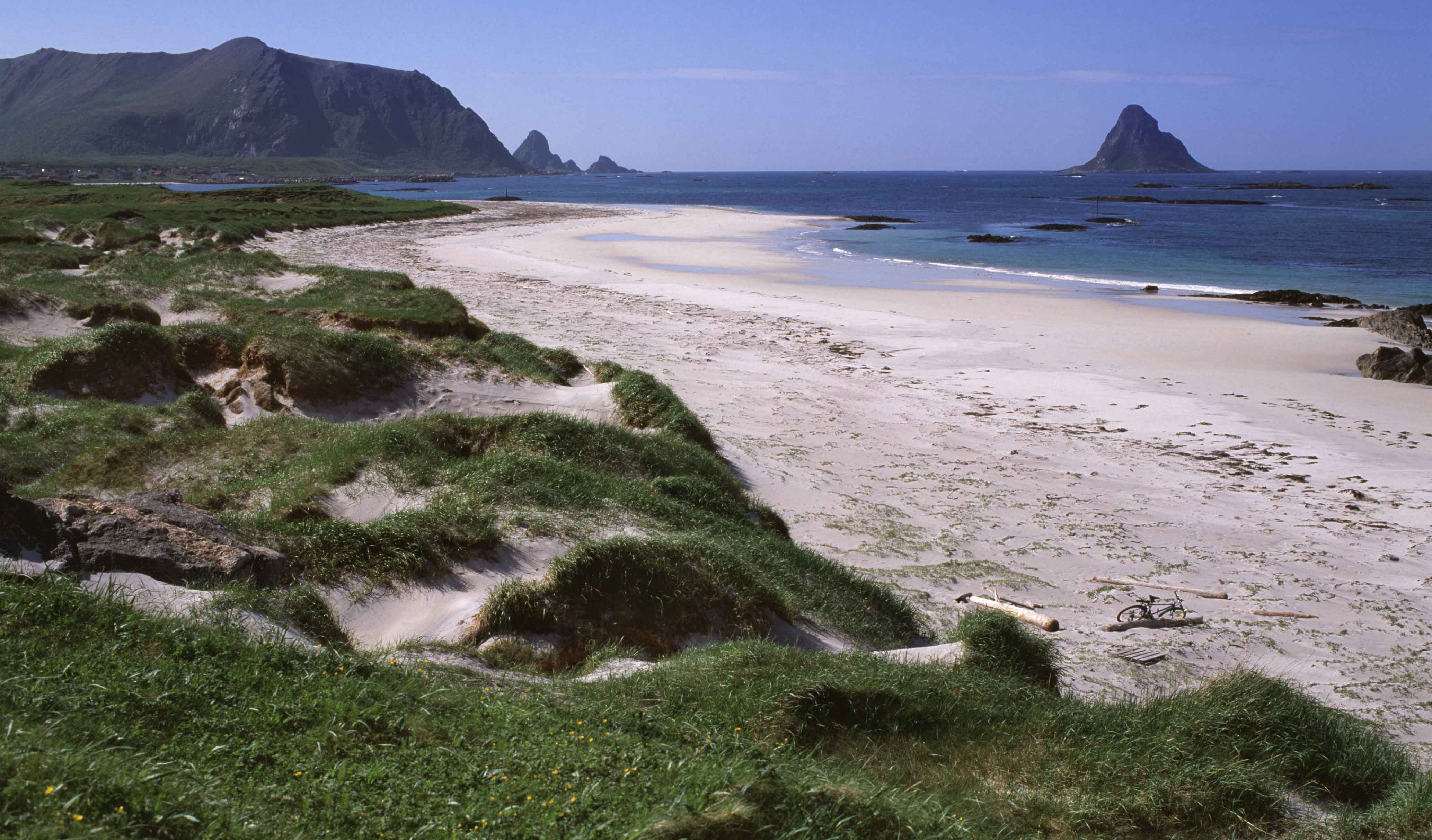 View of the white beach of Bleik at Andøya, Vesterålen.