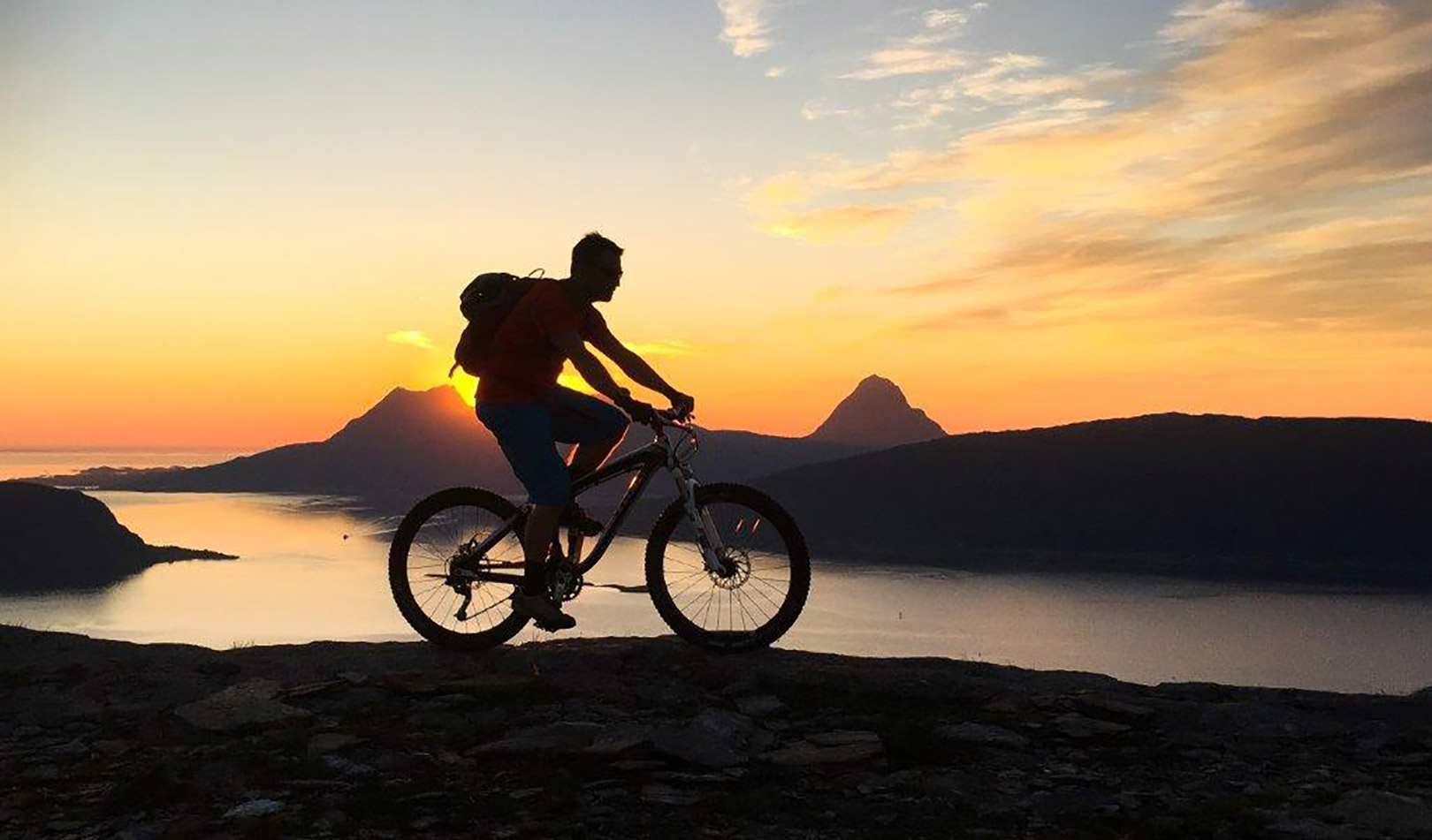 Biking in the midnight sun, Nesna, Helgeland.